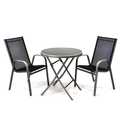 3er Bistroset mit 2 schwarzen Stapelstühlen 1 runden Glastisch klappbar