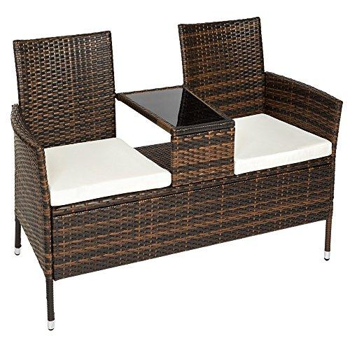 TecTake Sitzbank mit Tisch Polyrattan