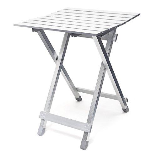 Relaxdays Beistelltisch HBT: 61 x 49,5 x 47,5 cm für den Garten, robustes Aluminium, silber