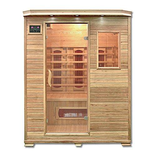 Home Deluxe – Infrarotkabine – Redsun L – Keramikstrahler – Holz: Hemlocktanne - Maße: 153 x 110 x 190 cm – inkl. vielen Extras und komplettem Zubehör